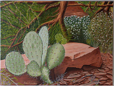 Grande Painting - Cactus In Sedona by Paul Santander