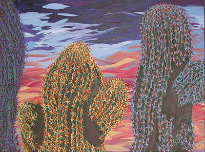Cactus Of Color 1 Art Print by Marcia Weller