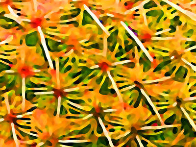 Cactus Pattern 2 Yellow Art Print by Amy Vangsgard