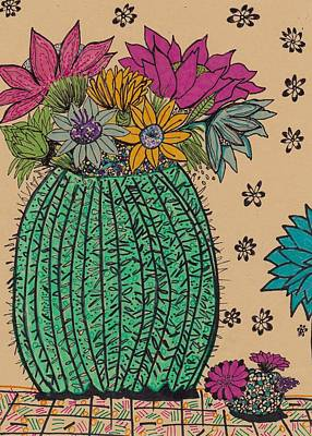 Still Life Drawings - Cactus  by Rosalina Bojadschijew