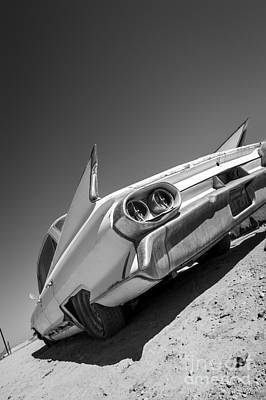Custom Roadster Photograph - Caddillac Dreams Black And White- Metal And Speed by Holly Martin