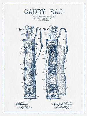 Caddy Bag Patent Drawing From 1905 - Blue Ink Print by Aged Pixel