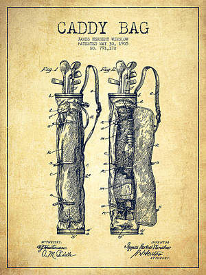 Golf Drawing - Caddy Bag Patent Drawing From 1905 - Vintage by Aged Pixel