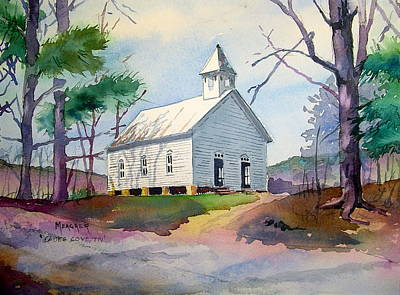 Cades Cove Painting - Cades Cove Church by Spencer Meagher