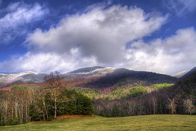Cades Cove First Dusting Of Snow Art Print by Debra and Dave Vanderlaan