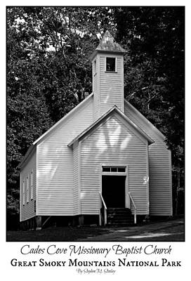 Cades Cove Missionary Baptist Church - Poster Art Print by Stephen Stookey