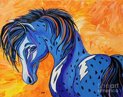 Cadet The Blue Horse Art Print by Janice Rae Pariza