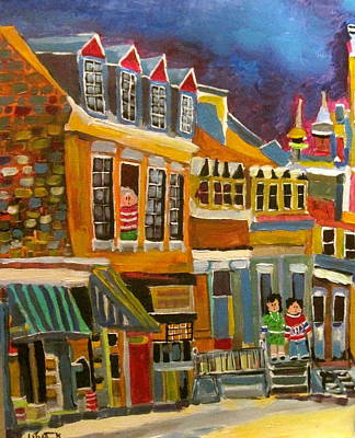 Le Plateau. Montreal Memories Painting - Cadieux Street Before Debullion by Michael Litvack