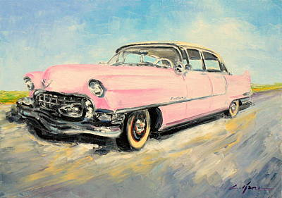 Painting - Cadillac Fleetwood 1955 Pink by Luke Karcz