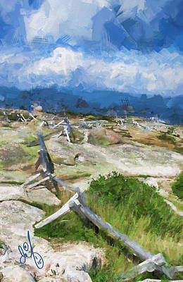 Maine Mountains Digital Art - Cadillac Mountain Fence by David Francey
