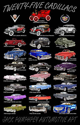 Painting - 25 Cadillacs In A Poster  by Jack Pumphrey