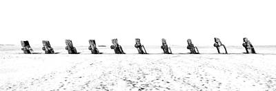 Cadillac Ranch Whiteout 001 Bw Art Print by Lance Vaughn