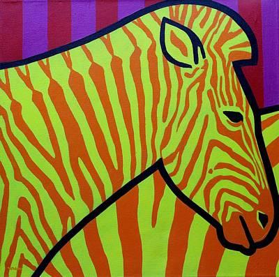 Cadmium Zebra Art Print by John  Nolan