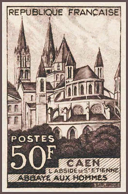 Calvados Painting - Caen Of The Apse St Etienne Abbey Men Stamp by Lanjee Chee