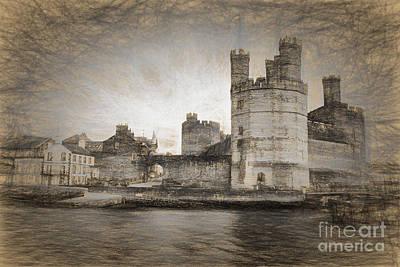 North Wales Digital Art - Caernarfon Castle  by Ann Garrett