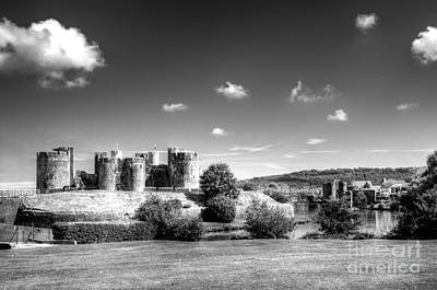 Photograph - Caerphilly Castle 5 Mono by Steve Purnell