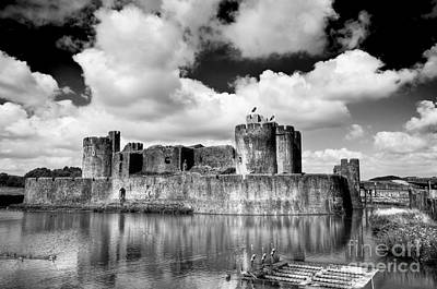 Photograph - Caerphilly Castle 6 Monochrome by Steve Purnell