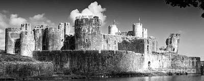 Photograph - Caerphilly Castle 8 Monochrome by Steve Purnell