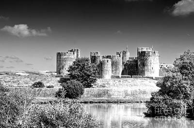Photograph - Caerphilly Castle 9 Monochrome by Steve Purnell