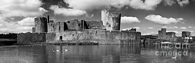 Photograph - Caerphilly Castle Panorama Monochrome by Steve Purnell