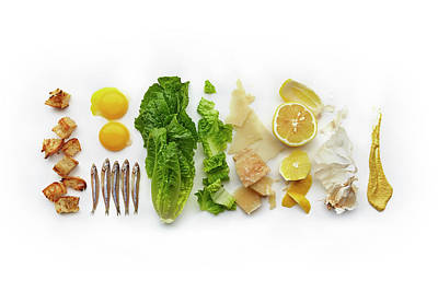Caesar Salad Ingredients Art Print by Lew Robertson