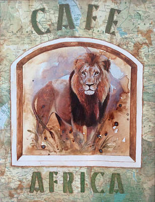 Signed Poster Painting - Caf? Africa by P.s. Art Studios