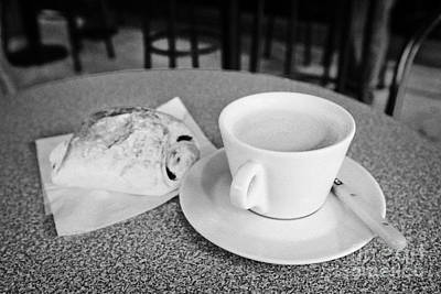 Cafe Au Lait And Pain Au Chocolate In A Cafe Bar In France Art Print