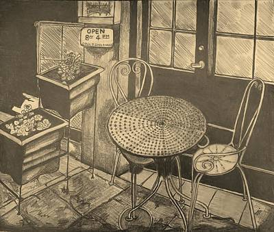Bistro Drawing - Cafe Au Lait by Ulrike Proctor