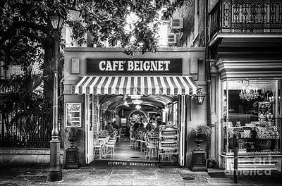 Photograph - Cafe Beignet Morning Nola - Bw by Kathleen K Parker