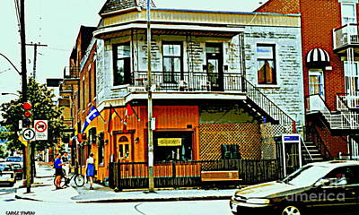 Montreal Spiral Staircases Painting - Cafe Berlin Restaurant Corner St.urbain Fleurs De Lys Flags Montreal Bistro Coffee Shop City Scene by Carole Spandau