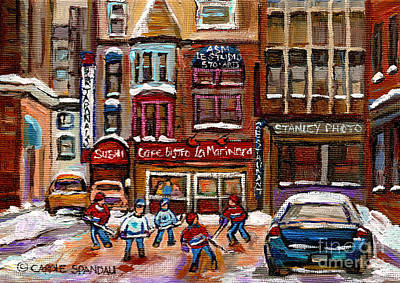Street Hockey Painting - Cafe Bistro La Marinara by Carole Spandau