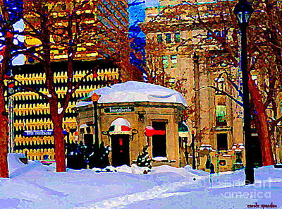Montreal Cityscenes Painting - Cafe Buongiornio Breakfast Restaurant Dominion Square Rene Levesque Mtl Winter Scene Carole Spandau by Carole Spandau