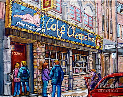 Montreal Winter Scenes Painting - Cafe Cleopatra Montreal by Carole Spandau