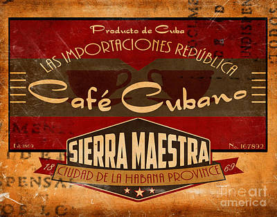 Coffee Painting - Cafe Cubano Crate Label by Cinema Photography