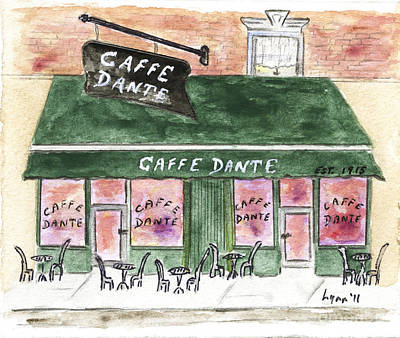 Macdougal Street Painting - Cafe Dante' by AFineLyne