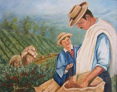 Campesinos Painting - Cafe De Colombia by Yolanda Suarez