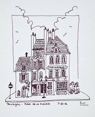 Pen And Ink Drawing Photograph - Cafe De La Mairie In Old Town by Richard Lawrence