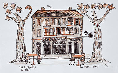 Cafe Des Platens In Place Paoli, L'ile Art Print
