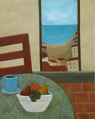 Fruit Bowl Window Painting - Cafe Du Matin by Trish Toro