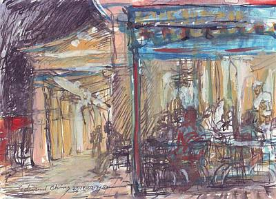 Drawing - Cafe Du Monde At Night by Edward Ching