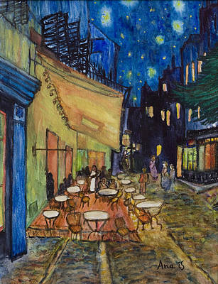 Painting - Cafe In France by Anais DelaVega