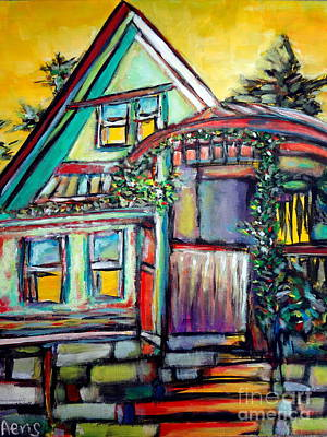 Abstract Expressionism Drawing - Cafe In Revelsoke Bc Canada by Aeris Osborne