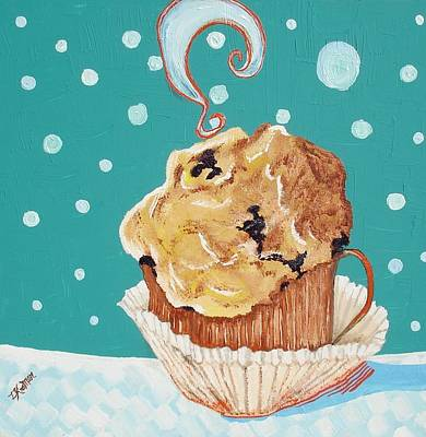 Blueberry Mixed Media - Cafe Java And Muffin  by Lisa Kramer