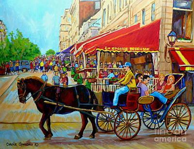 Montreal Restaurants Painting - Cafe La Grande Terrasse by Carole Spandau