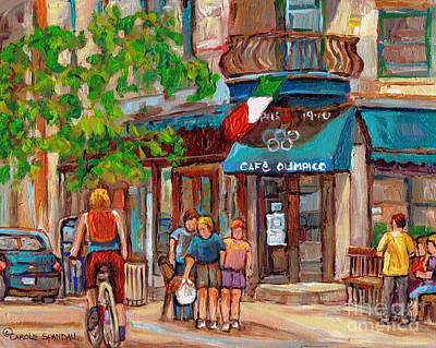 Canadian Sports Painting - Cafe Olimpico-124 Rue St. Viateur-montreal Paintings-sports Bar-restaurant-montreal City Scenes by Carole Spandau