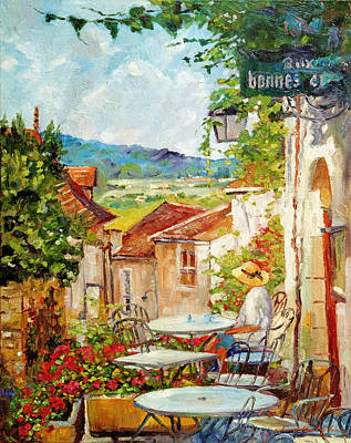 Outdoor Cafe Painting - Cafe Provence Morning by David Lloyd Glover