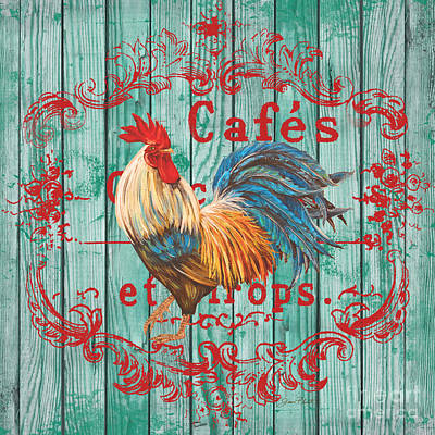 Cafe Rooster On Aqua Original by Jean Plout