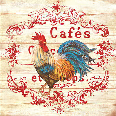 Cafe Rooster On White Original by Jean Plout