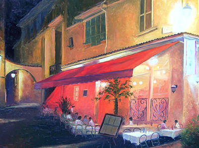 Outdoor Cafe Painting - Cafe Scene Cannes France by Jan Matson