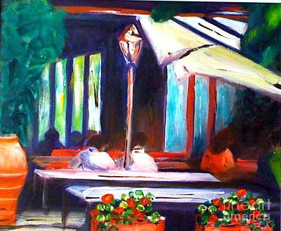 Terracotta Oil Lamp Painting - Cafe Scene by Therese Alcorn